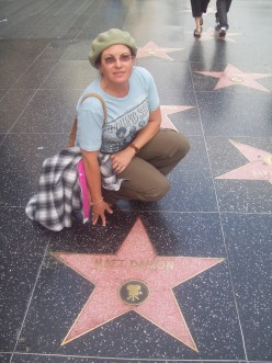 Pick the tourist, that would be me, on the Walk of Fame, Hollywood.