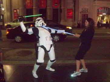Storm trooper attack on Hollywood Blvd. $1 tip for the photo. Even storm troopers need to make a living