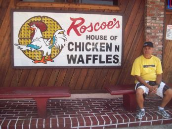 Hubby keeping it real at Roscoes in West Hollywood.